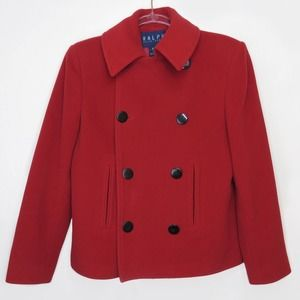 Vintage Ralph Lauren Red Double-Breasted Peacoat
